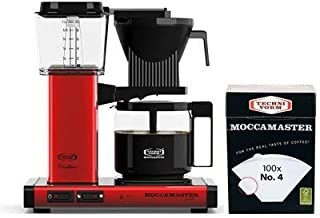 Technivorm Moccamaster KBG Coffee Brewer 10-Cup with Glass Carafe with number 4 Filter (Metallic Red)