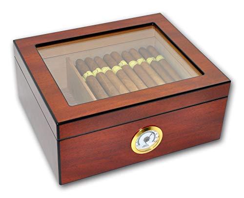 Eitida Humidor cave à cigares Contient de 25 à 50 cigares,Supérieur en verre trempé,Boîte de rangement en bois de cèdre espagnol Handcraft avec séparateur, Humidificateur et Hygromètre, Cerise Sapele.