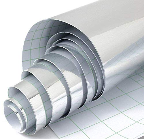 MULLSAN Self-Adhesive Chrome Silver Vinyl Wrap Decal Film Sheet Decorative Sticker 24in by 79in
