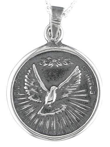 Alylosilver Collana con Ciondolo Medaglia d'Argento dello Spirito Santo per Uomo e Donna. Include Catena in Argento da 45 cm e Scatola Regalo