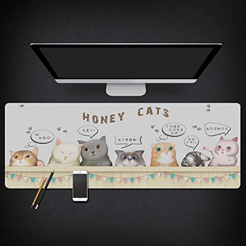 Insun Mauspad Gaming Schreibunterlagen Matte Wasserdichte Rutschfest StoffmauspadSchreibtischunterlage für Büro und Zuhause Honig Katzen 30x78cm