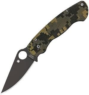 Spyderco C81GPCMOBK ParaMilitary 2 G-10 Plain Edge Knife (Camo/Black)