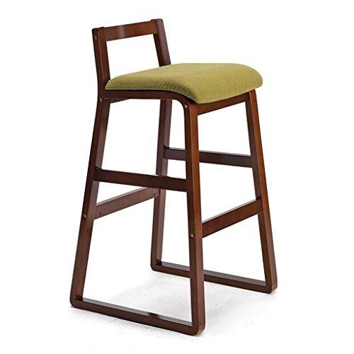 Rollsnownow Coussin vert cadre en bois brun chaise de bar maison moderne Tabouret haut en bois massif chaise de bar rétro tabouret haut (Size : High 77cm)