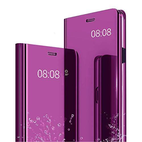 Miagon Spiegel Standing Schutzhülle für Huawei P40 Lite E/Y7P, Klar Mirror Effekt Standfunktion Pu Leder Brieftasche Handyhülle