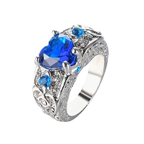 HSKB Damesring, trouwring, verlovingsring, diamantring, geschikt als verlovingsringen, vriendschapsringen en partnerringen voor vrouwen/wit kristal/gerhodineerd, blauw (blauw) - JJ-123