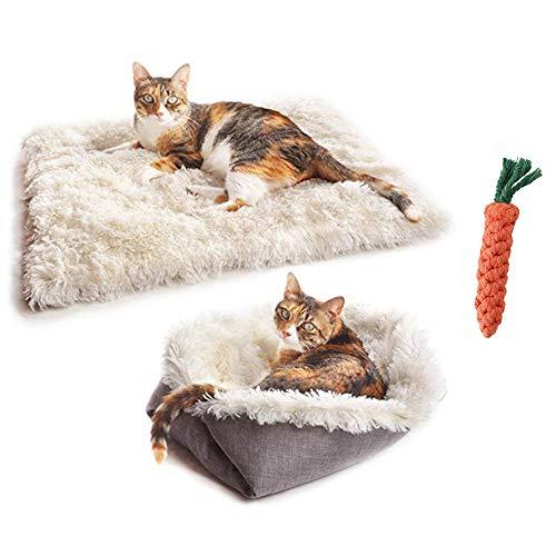 LINKE Katzenkissenbett super weich und flauschig selbsterwärmend Welpe Kleiner Hund Kätzchen Schlafsack 61 x 51 cm, mit 1 Haustier Baumwolle Zähne Reinigungsspielzeug