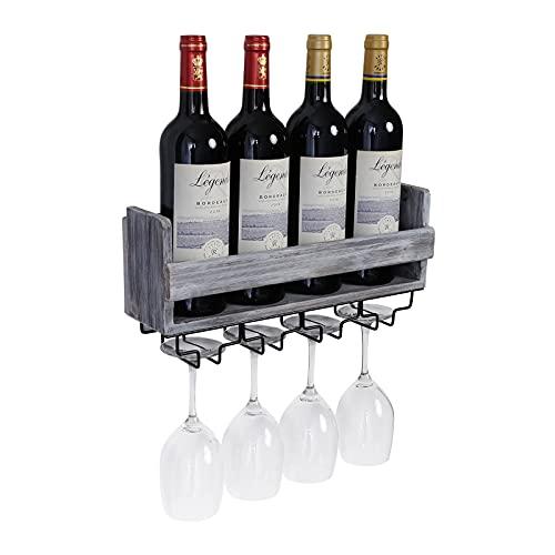 Tigcent Botellero Vino Pared Estante para Botellas de Vino Armarios de Vino Estante de Exhibición de Vidrio de Vino y Botella de Vino