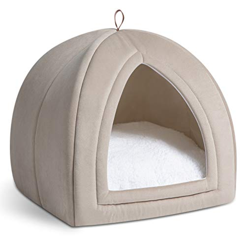 Bedsure Cat Bed for Indoor Cats, Cat Houses, Small Dog Bed - 19 inches 2-in-1 Cat Tent, Kitten Bed, Cat Hut, Cat Cave with Removable Washable Cushioned Pillow, Outdoor Dog Tent Beds, Dark Beige