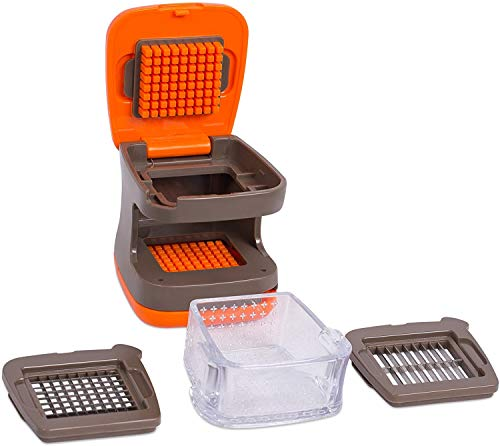 Internet's Best Garlic Dicer and Slicer - Mincer Press Vegetable Food Garlic Chopper - Plastic Tray Catcher Canister - 2 Blades - Orange and Brown