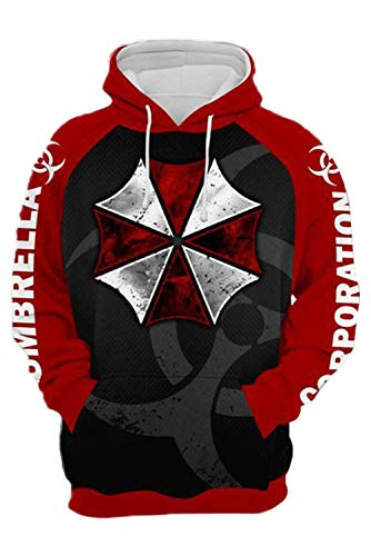 lancoszp Adulto Sudadera con Capucha de Umbrella Corporation Juego Cosplay Costume Sudadera Estampada Pull-Over, XXL