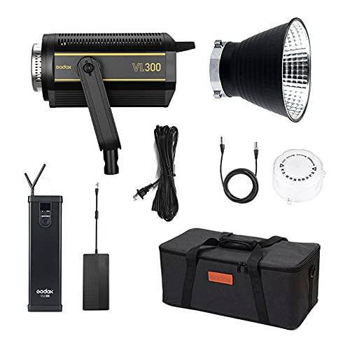GODOX VL300 5600K Luz de Video LED 300W CRI96 Montaje Bowens con Controlador Adaptador de Corriente para niños Naturaleza Muerta Fotografía Estudio Disparo Entrevista Iluminación Disparo de Video