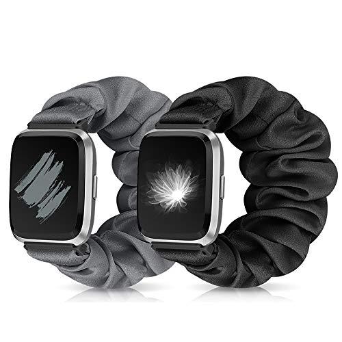 Runostrich Scrunchie Elastic Watch Strap Women for Fitbit Versa/Versa 2/Versa Lite/SE, Floral Breathable Replacement Band Scrunchy Wristband Bracelet Accessories (O+P Black+Grey, M)