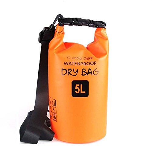 ZhaoCo Wasserdichter Packsack, 5L/10L/20L/30L wasserdichte Tasche Sack PVC Dry Bag für Kayaking, Bootfahrt, Kanufahren, Fischen, Rafting, Schwimmen, Kampieren, Snowboarding Wassersport (Orange,5L)
