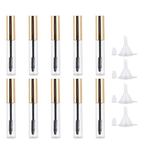 Minkissy 10Pcs Tube de Mascara Vide avec Entonnoir 4Pcs Bouteille de Contenant de Crème pour Les Cils pour Les Cosmétiques Diy (Couvercle Doré)