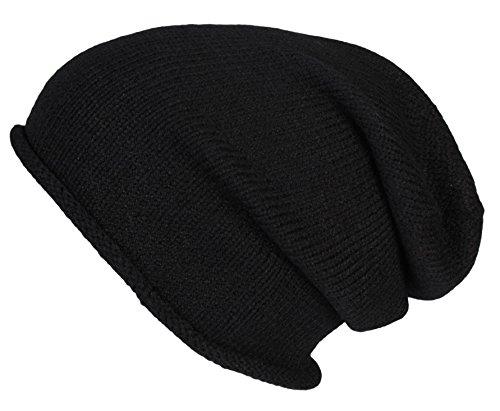 2Store24 Bonnet Long Hiver pour Femmes et Hommes Beanie bonnets tricoté avec bord roulé en black