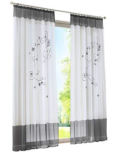 Home U Lot de 1 Pièce Rideau Voilage Galon Fronceur LxH 140x225cm Broderie Gris Décoration Intérieur de Fenêtre Chambre Salon Balcon