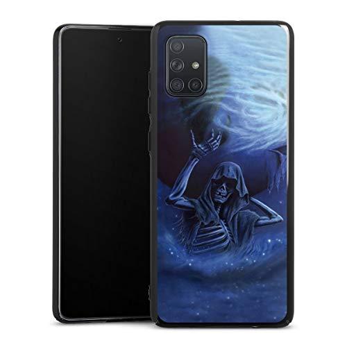 DeinDesign Hard Case kompatibel mit Samsung Galaxy A71 Schutzhülle schwarz Smartphone Backcover Gothic Totenkopf Schädel