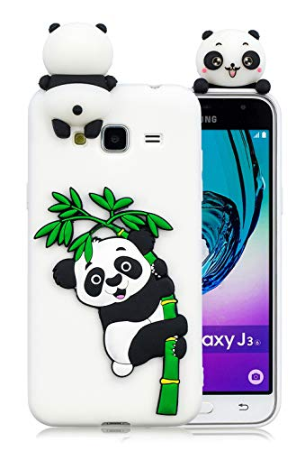 3C Collection Cover Samsung J3 2016 Silicone Panda, Cover Galaxy J3 2016 Silicone Panda, Cover 3D Animali in Silicone Morbido per Samsung Galaxy J3 2016 J310 Custodia Bianco in Gomma per Ragazze