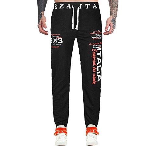 IMJONO Männer Hosen,2019 Jubiläumsfeier Mens Casual Jogger Dance Sportwear Baggy Harem Pants Hosen Hosen Jogginghose(Medium,Schwarz)