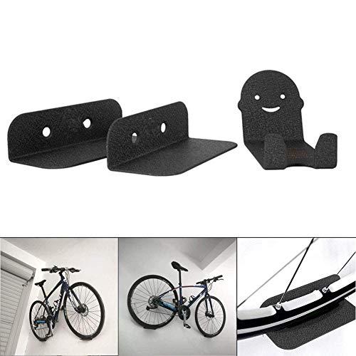 Dovlen 3Pcs Soporte Pared Bicicleta Soportes Acero Apoyo Bicicleta Ciclismo Pedales Neumático Gancho de Almacenamiento Repisa