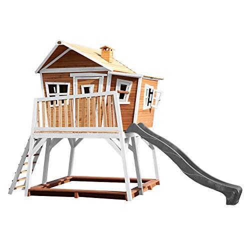 AXI Spielhaus Max mit Sandkasten & grauer Rutsche   Stelzenhaus in Braun & Weiß aus FSC Holz für Kinder   Spielturm mit Wellenrutsche für den Garten
