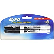 EXPO Low Odor Dry Erase Markers, Fine Point, Black, 2-Count (1822749)