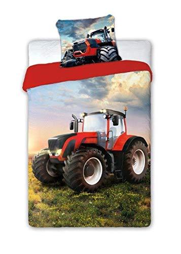 SaYes - Juego de sábanas con Tractor (100% algodón, 160 x 200 cm, 70 x 90 cm)