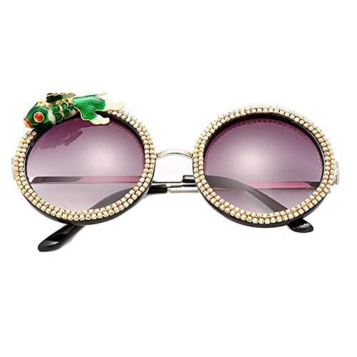 SHENY Occhiali da Sole Rotondi con Diamanti Vintage Donna Moda Strass Decorazione Pesce Occhiali da Sole Punk retrò Occhiali da Uomo Design Verde