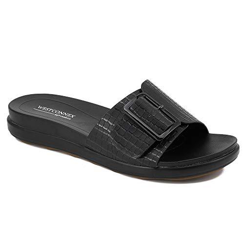 Sandals for Women Dressy Summer Adjustable Buckle Non-Slip Slides Comfort Flat Womens Sandals Black