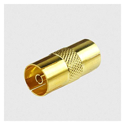 LJQSS Durable TV ANUALES RF Coax Cable Adaptador de Plomo Mujer a Mujer Aleación de Zinc de Oro 3 * 1.7 * 0.6 cm para conectar 2 Cables de coaxiales Juntos Boton Interruptor (Color : Gold)