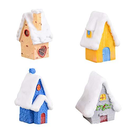 Amosfun - Set di 4 mini casette da neve con neve e villaggio fai da te, per Natale, giardino, decorazione paesaggio