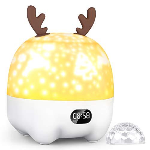 Sternenlicht Projektor Nachtlicht für Kinder Baby, Bluetooth Lautsprecher Wecker, Dimmbare Farbwechsel RGB Party Lampen, Geburtstag für Jungen Mädchen Kinder (5-in-1-Funktionen)