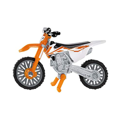 SIKU 1391, Moto KTM SX-F 450, Metal/Plástico, Naranja/Blanco, Soporte plegable