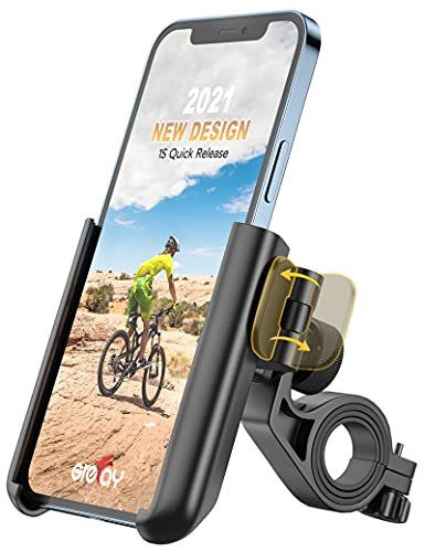 Grefay Bike Phone Mount Universal Motorcycle Handlebar Phone Holder 【1S Quick Release】 Anti Shake Bicycle Phone Clamp for Road Bike/ MTB/ Scooter with 360 Rotation for 3.5-7.0 inches Smartphone