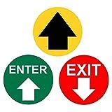 Señal de seguridad con indicación de dirección para el suelo, 25 unidades, color amarillo, 5...