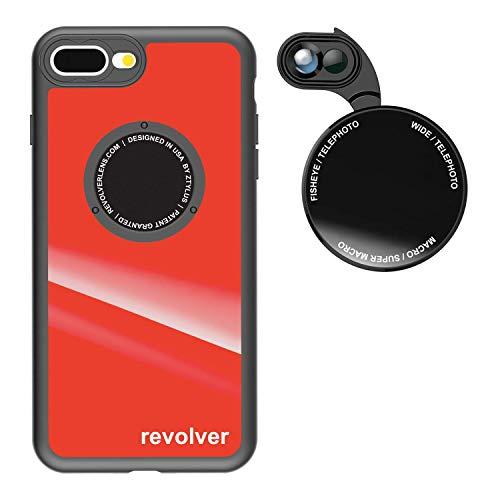 Kit de câmera Ztylus Designer Revolver série M: lente 6 em 1 com capa para iPhone 7 Plus/8 Plus - lente teleobjetiva 2X, Macro, lente super macro, lente grande angular, Gloss Red, iPhone 7 Plus, iPhone 8 Plus