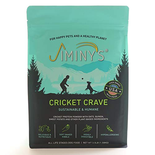 Jiminy's Cricket Crave Cricket Protein Oven-Baked Dog Food 3.5 lb Bag | 100% Made in The USA | Gluten-Free | Sustainable | Limited Ingredients | High Protein | Hypoallergenic