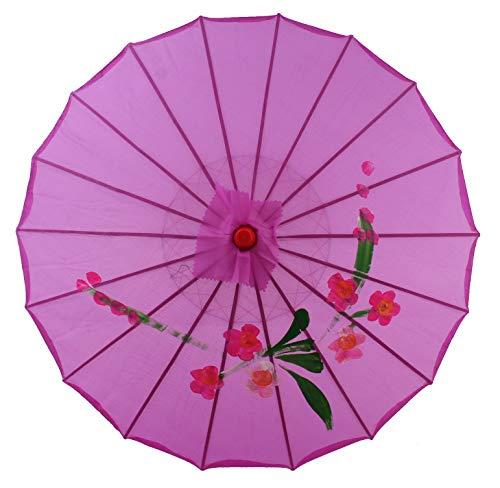 AAF Nommel Sonnenschirm Deko Schirm Kunstfaser wasserfest Bambus Holz Bali Ø 55cm (Violett)