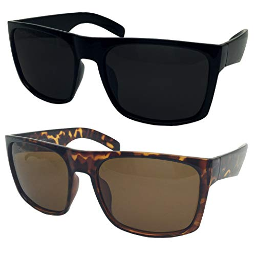 2 Pack XL Polarized Men's Big Wide Frame Sunglasses - Large Head Fit (1 Black, 1 Tortoise)