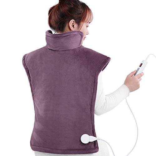 Heizkissen für Rücken Schulter mit Abschaltautomatik Überhitzungsschutz, 60 x 85cm Heizdecke Wärmekissen mit 6 Anpassbare Heizstufen für Rücken und Schulter Entlastung, Wärmedecke Waschbar