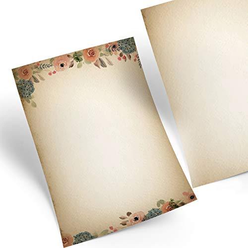 Logbuch-Verlag 50 Blatt Briefpapier Vintage Blumen beige rosa blau A4 - auf alt gemacht Boho Nostalgie Druckerpapier Motivpapier zum Bedrucken