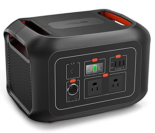 Portable Power Station 622Wh, MILIN 600W Solar Power Generator with 2 110V Pure Sine Wave AC Outlets and PD 100W Quick Charge, Backup Lithium Battery for Home Use Outdoor Camping RV Travel Emergency