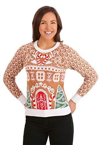 FUN.COM Womens Gingerbread House Ugly Christmas Sweater 2X