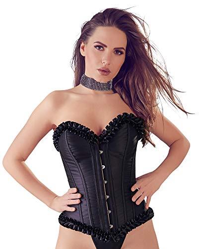 Orion Corsage mit String - sexy Corsage zum Schnüren für Frauen, Korsett mit Stäben, Dessous-Corsage mit Rüschen, trägerlos, schwarz (L)