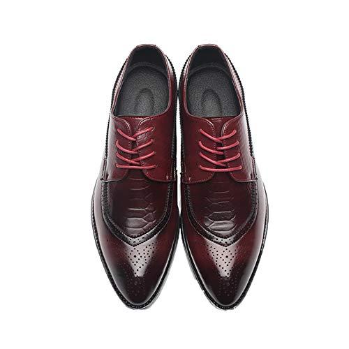 Zapatos Formales de Hombre Vintage Puntiagudos Brogue patrón Dividido Zapatos de Cuero con Cordones de Corte bajo cómodos Zapatos Derby Elegantes para Vestido de Boda