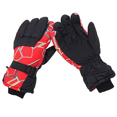 Guantes de invierno de esquí guantes térmicos Anti Slip Guantes de nieve caliente for los guantes de esquí snowboard de invierno de hombres mujeres Guantes calientes ( Color : Red , Size : Free size )