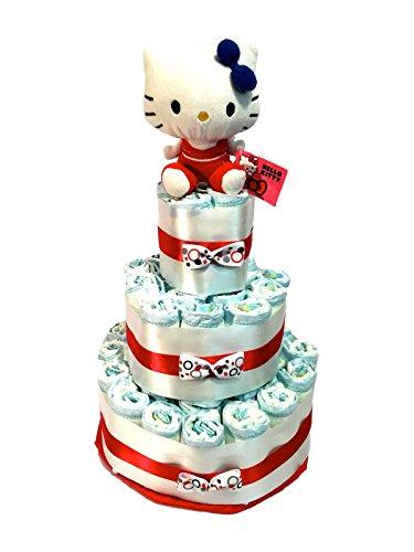 Tarta de pañales DODOT Hello Kitty roja
