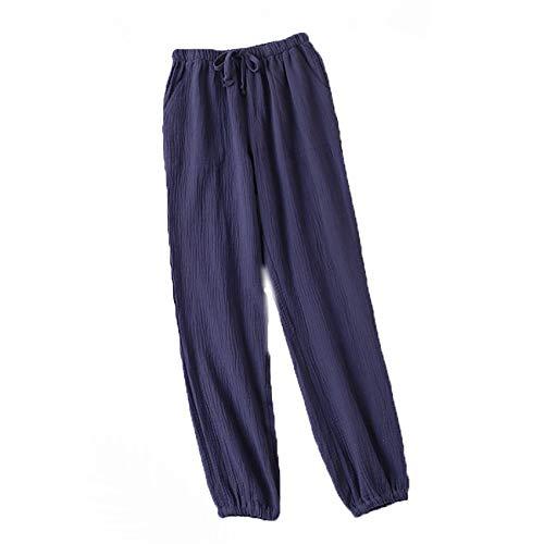 Pijamas Mujer Primavera Y OtoñO Pantalones Caseros AlgodóN Puro Lavado Doble Gasa Pantalones Sueltos Y CóModos Pantalones Casuales