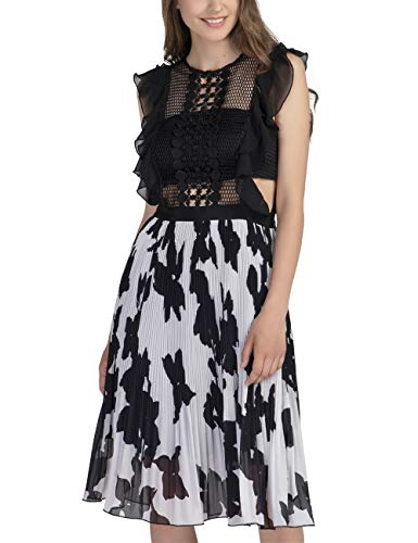 APART Damen Abendkleid kurz, mit Plisséerock, schwarz-Cream, 34