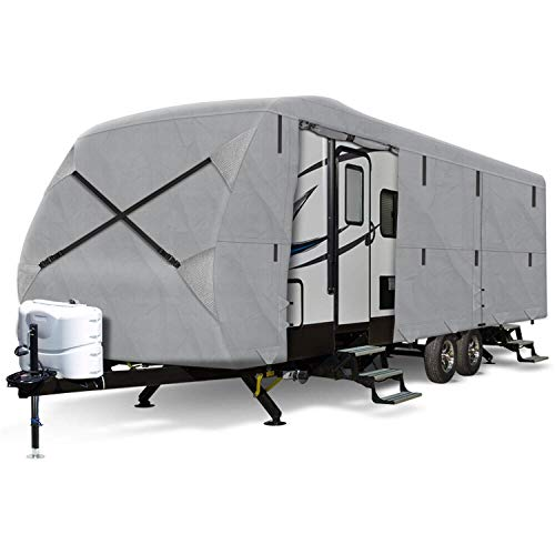 Arch Motoring 3 Layers Class A Cover, 27' to 30' RV Travel Trailer Cover, Dustproof, Windproof, UV Protection, Breathable